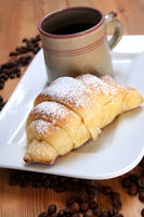 Coffee With Yeast-Risen Breakfast Pastry, Croissant