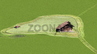 Green Field with House and  Mower