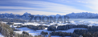 Panorama Landschaft in Bayern im Winter