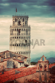 The Leaning Tower in Pisa, Italy. Unique rooftop view. Vintage