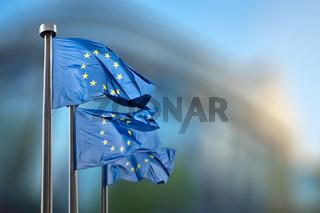 European Union flags against European Parliament