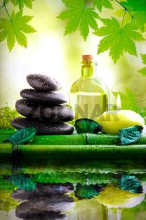 Alternative treatments of natural essences vertical composition