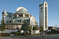 People leaving church in Wadowice Poland