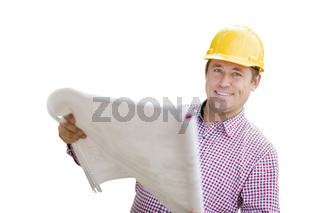 Contractor in Hardhat Holding Blueprints On White