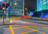 Traffic lights towards Waterloo bridge, London, United Kingdom