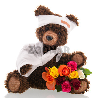 Bear with pain and flowers isolated over white background