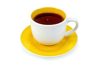 Tea in white-yellow cup