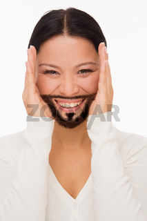 Bearded deaf woman with closed ears