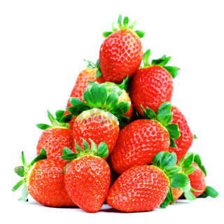 strawberry pile isolated on white background