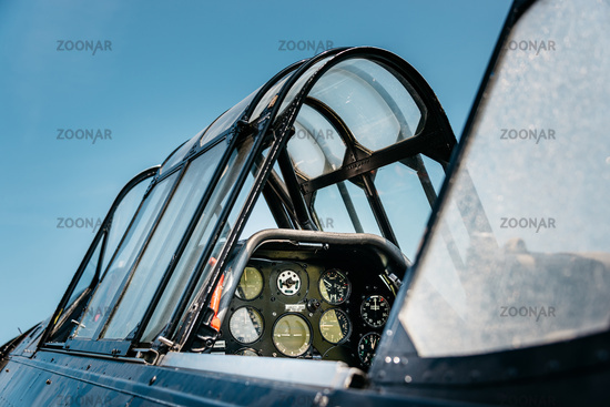 Vintage airplane cockpit