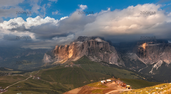 Panoramic view of Sella group mountain