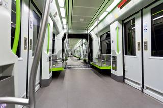 Metrovalencia subway car interior view.
