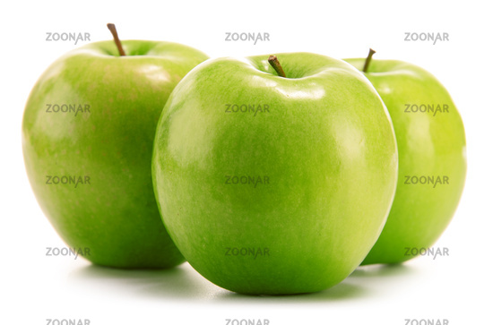 Composition with three green apples isolated on white background