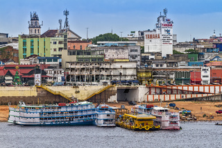 Moored Amazon River Boats Manaus Brazil