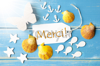 Sunny Summer Greeting Card With Merci Means Thank You