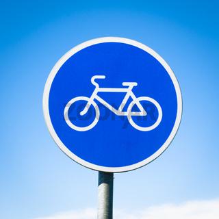 round bicycle lane sign