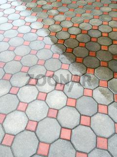 wet urban floor mosaic background