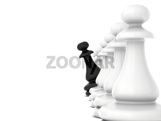 Black chess piece turns looking out white pawns