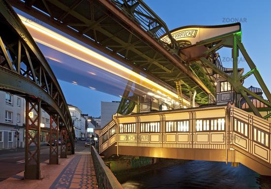 Wuppertal suspension railway station Werther Bruecke, Wuppertal, North Rhine-Westphalia, Germany