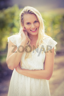 Pretty blonde woman looking at the camera