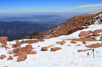 Snowy slopes of Pikes Peak Mountain and vistas in Colorado