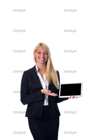 Happy woman with tablet in hand