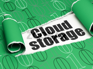 Cloud networking concept: black text Cloud Storage under the piece of  torn paper