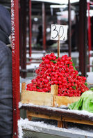 Heap of red radish on market