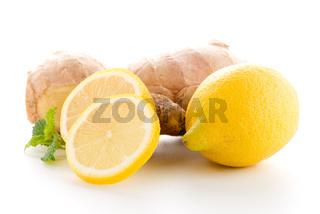 Ginger root and lemon slice