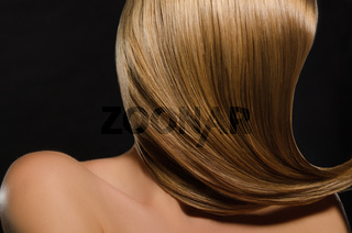 Beautiful women's light straightened out hair