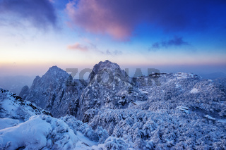 snow scene of Huangshan hill in Winter