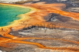 detail of the grand prismatic at the yellowstone national park USA