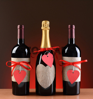 Champagne and Wine Bottles Decorated For Valentines Day