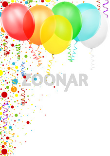 Colorful Confetti and Party Balloons
