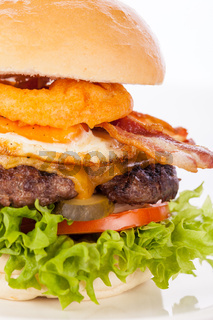 Delicious egg and bacon cheeseburger