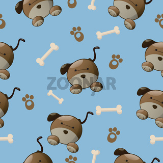 Seamless colorful dog pattern with paw and bone.