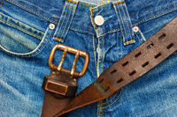 Vintage leather belt with metal buckle