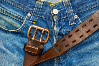 Vintage leather belt with metal buckle