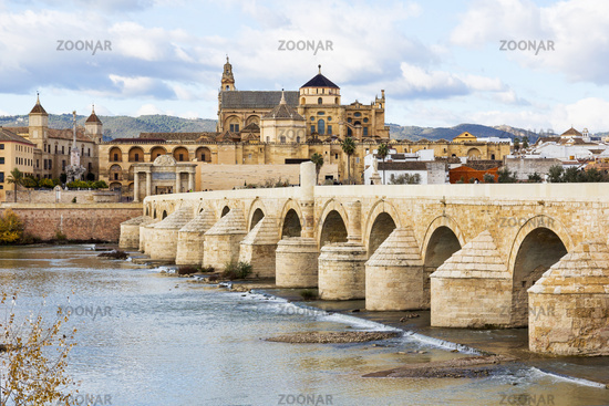 Roman Bridge and Mosque Cathedral of Cordoba in Sp