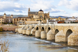 Roman Bridge and Mosque Cathedral of Cordoba in Spain