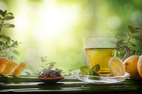 Oriental green tea with mint and lemons on bamboo front