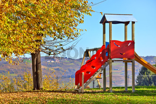 Slide on empty playground.