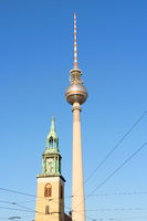 Marienkirche and Television Tower in Berlin