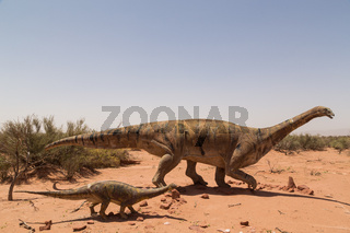 Dinosaur statues in Talampaya National Park