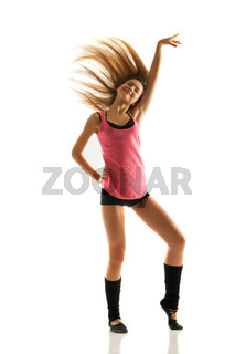 young beautiful dancer posing on white background