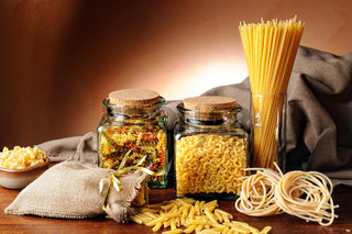 composition with various types of pasta