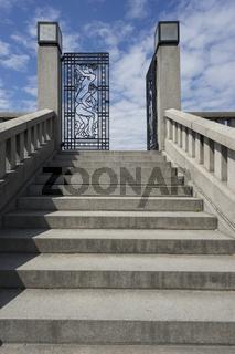 Treppe zum Monolith Plateau im Vigelandpark in Oslo