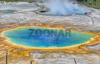 Grand Prismatic Spring and Excelsior Geyser Crater