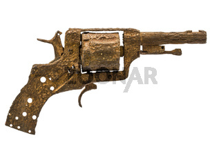 Old rusty pistol, Isolated on white background