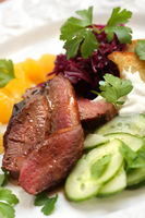 Roasted Duck Breast With Red Cabbage and Orange